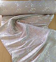 Портьєрна тканина бежево-золотиста з узором шириною 1.50м./Портьерная ткань бежево-золотистая с узором, фото 1