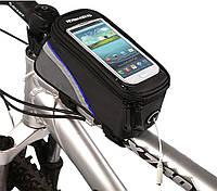 "Велосипедная сумка Roswheel 6"" велосумка для смартфона на раму L Black-Blue"