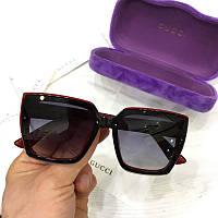 Женские солнцезащитные очки бабочки Gucci реплика Черные в красной оправе, фото 1