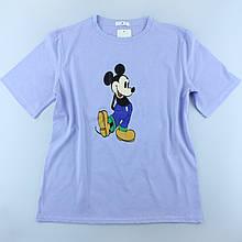 Женская лавандовая футболка с рисунком, цветная. оверсайс