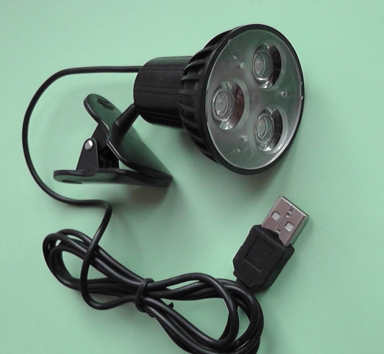 USB лампа 3 светодиода прожектор с прищепкой