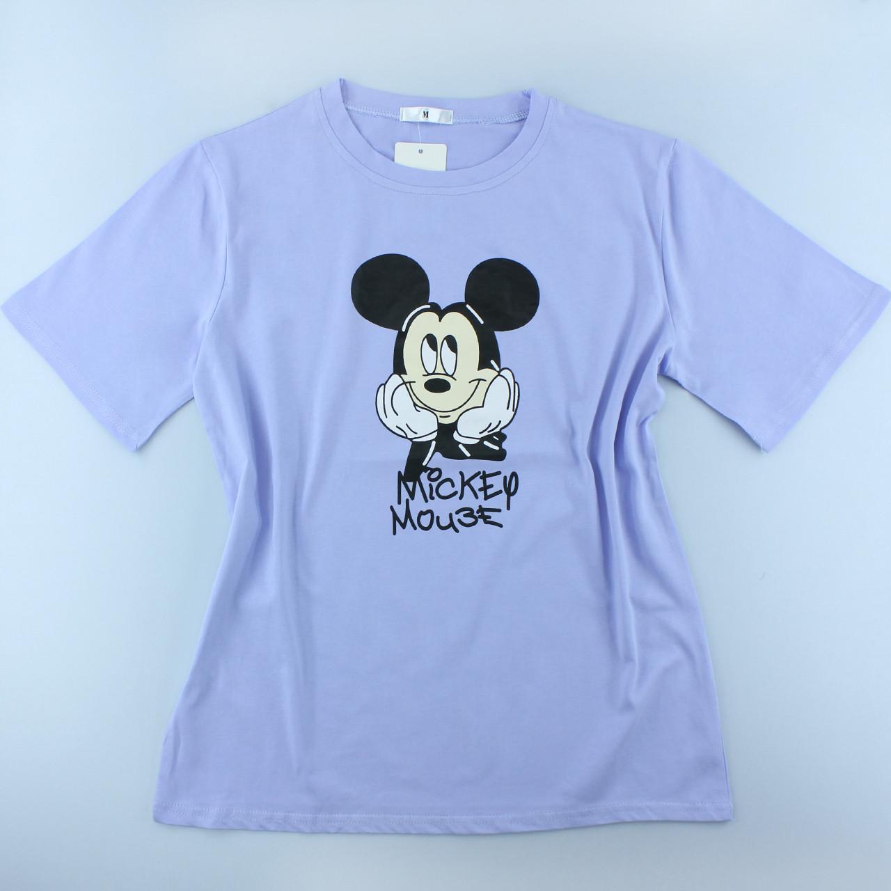 Жіноча фіолетова футболка з малюнком, оверсайз