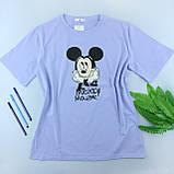 Жіноча фіолетова футболка з малюнком, оверсайз, фото 3