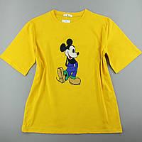Жовта яскрава футболка жіноча з принтом, оверсайз