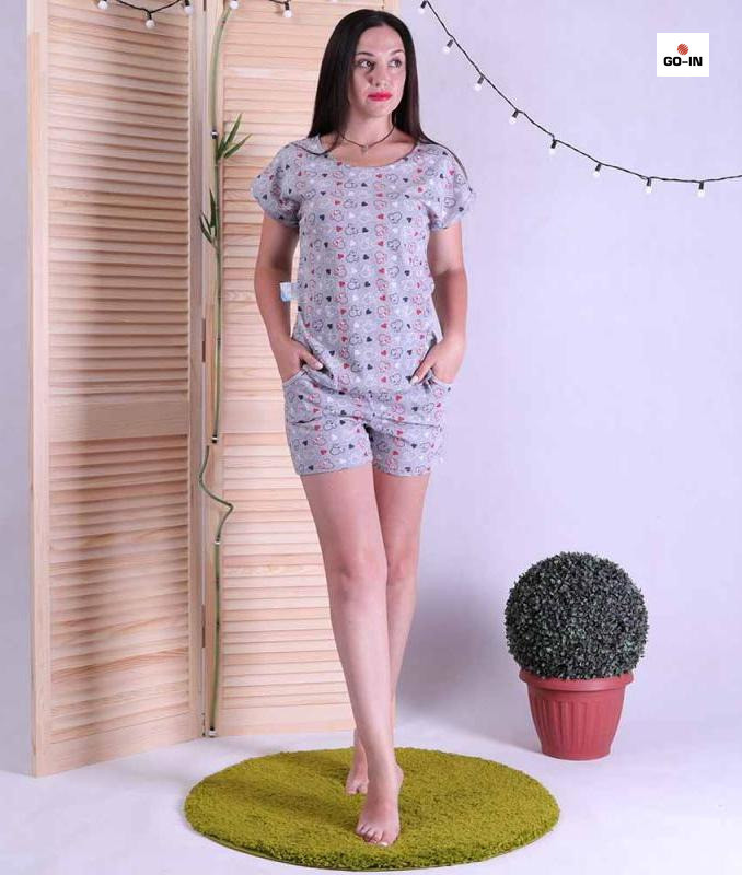 Пижама женская летняя футболка и шорты для сна серый сердечки 42-54