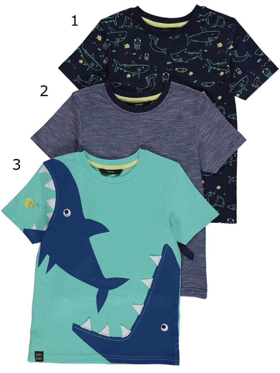 Стильні бавовняні футболки Акули Джордж для хлопчика (поштучно) (поштучно)