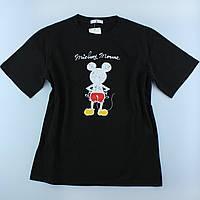 Жіночі футболки чорні з принтами з бавовни, оверсайз