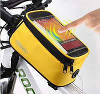 "Велосипедная сумка Roswheel 6"" велосумка для смартфона на раму L Yellow"