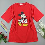 Червона яскрава легка футболка з принтом, жіноча оверсайз, фото 2