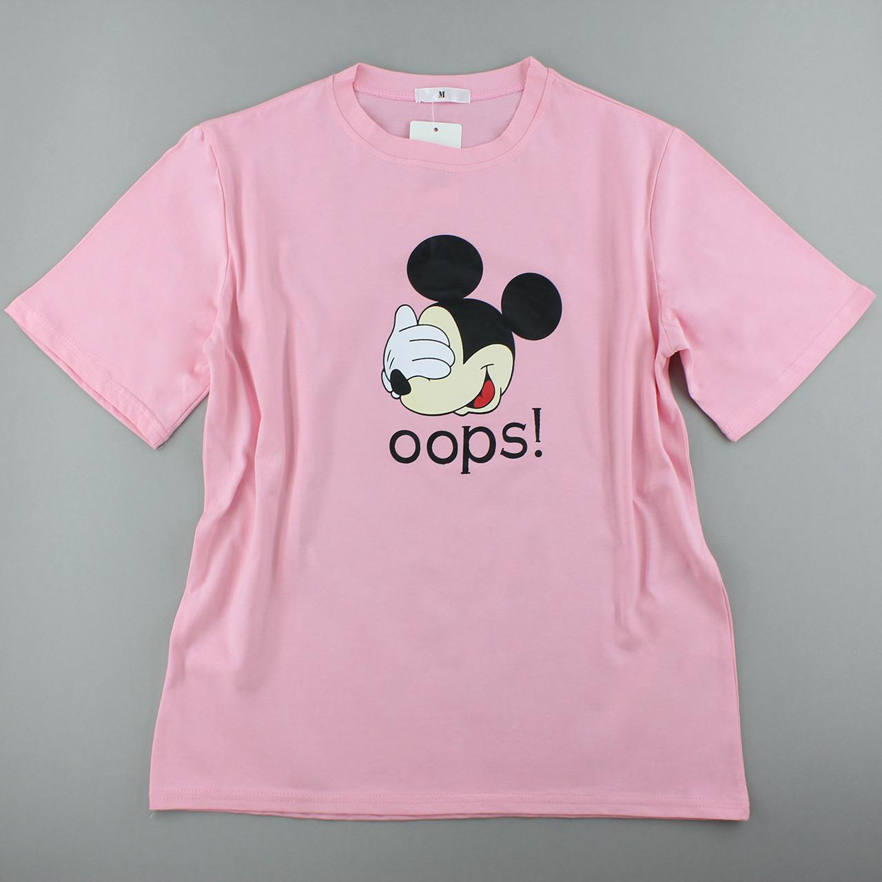 Трикотажні футболки бавовняні рожеві жіночі, оверсайз