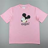 Трикотажні футболки бавовняні рожеві жіночі, оверсайз, фото 3
