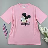 Трикотажні футболки бавовняні рожеві жіночі, оверсайз, фото 2
