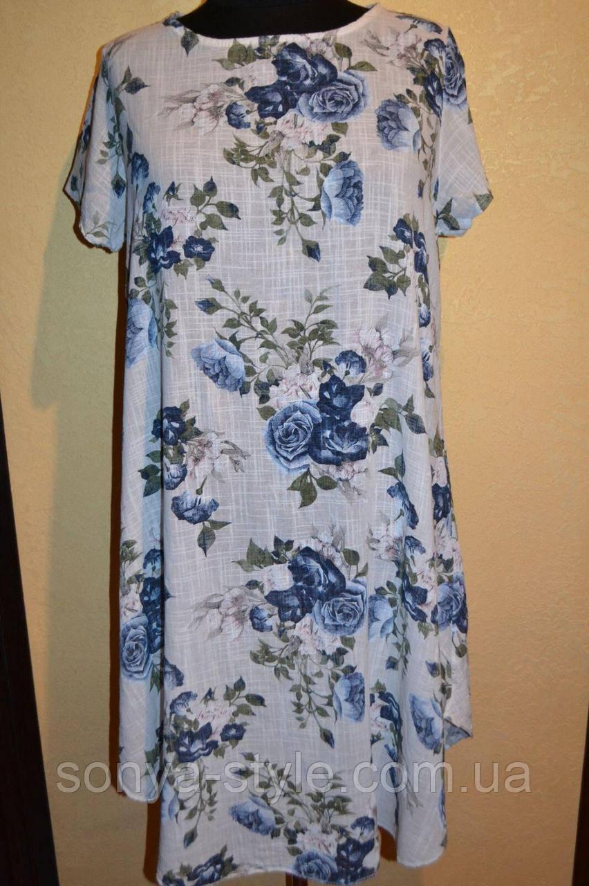 Женское платье  с  букетами  больших размеров