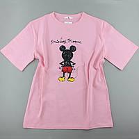 Молодіжна футболка рожева з малюнками, оверсайз
