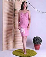 Ночная рубашка летняя на тонких бретельках для беременных и для кормящих мам 42-54р.
