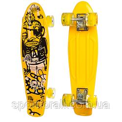 Пенниборд (скейтборд) колёса PU Светятся Profi MS 0749 - 5 (желтый)