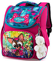 Рюкзак школьный с ортопедической спинкой розовый для девочки Winner One с Щенком 34х26х14 см для 1 класса