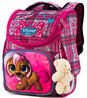 Школьный каркасный рюкзак (ранец) с ортопедической спинкой розовый для девочки Winner One с Щеноком 34х26х14