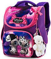Ортопедический школьный рюкзак (ранец) фиолетовый для девочки Winner One с Котом 34х26х14 см в 1 класс (2039)