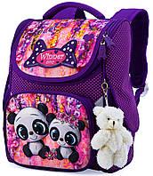 Школьный каркасный рюкзак (ранец) с ортопедической спинкой фиолетовый для девочки Winner One с Пандой