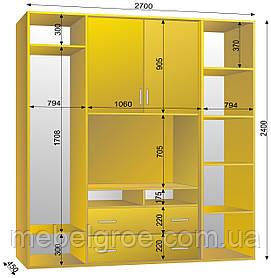 Шкаф-купе ТВ-1 2700х450х2400 тм Эксклюзив