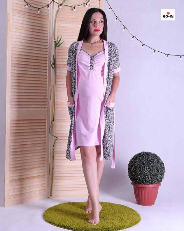 Комплект халат и сорочка, для беременных и кормящих мам розовый р.42-54