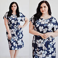 Женское, летнее платье в цветочный принт, размеры 48, 50, 52 (батал) от производителя