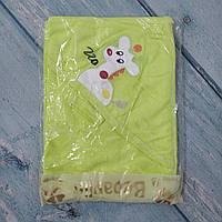 Детское махровое полотенце с уголком+варежка для купания новорожденного, Турция