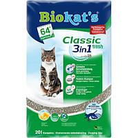 Biokats Classic fresh 3in1 комкующийся наполнитель для кошачьего туалета с крупными гранулами и ароматом весенних трав, 20л