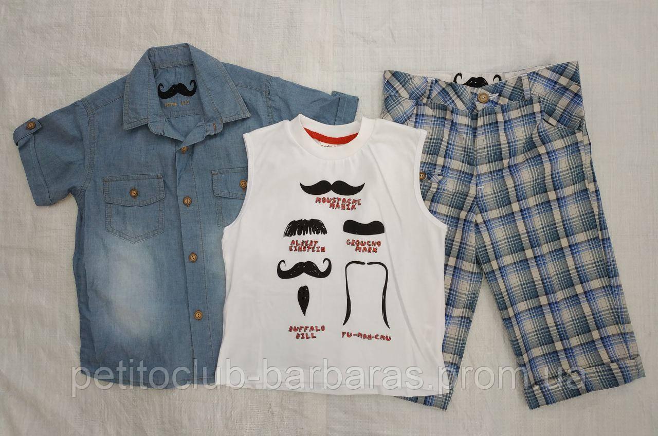 Детский летний комплект-3-ка для мальчика Biyik: джинсовая сорочка, майка и шорты (Petito Club, Турция)