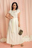 Платье батальное льняное длинное