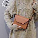 Женская классическая сумочка кроссбоди на широком ремешке коричневая рижая, фото 6