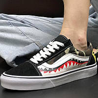 Мужские кеды Vans Old Skool x Bape Shark Camo, vans old school, кеди ванс олд скул, венсы