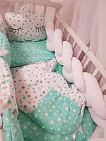 """Комплект детского постельного белья """"Косичка"""" с бортиком косичкой из велюра."""