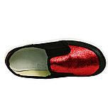 Сліпони мокасини еспадрільї тапочки текстиль для дівчинки дівчини валді waldi Віка Луска чорний з червоним., фото 4