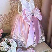 Набор на выписку крестины, пышное платье для девочки 0-4 мес