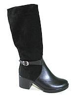 Сапоги женские зимние на небольшом каблуке натуральная замша+кожа