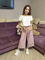 2 Костюм кюлоты и блузка на девочку 134 - 164 Детские подростковые кюлоты с майкой