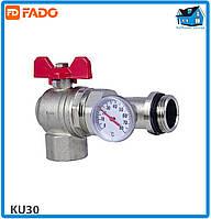 """Кран кульовий кутовий з термометром FADO KU30 FLOOR 1"""""""