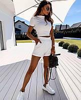 Білий жіночий літній костюм топ під горло і шорти на високій посадці, фото 1