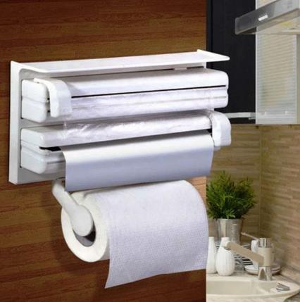 Кухонный тройной держатель Triple Paper dispenser 3 в 1 для бумажных полотенец пищевой пленки и фольги, фото 2