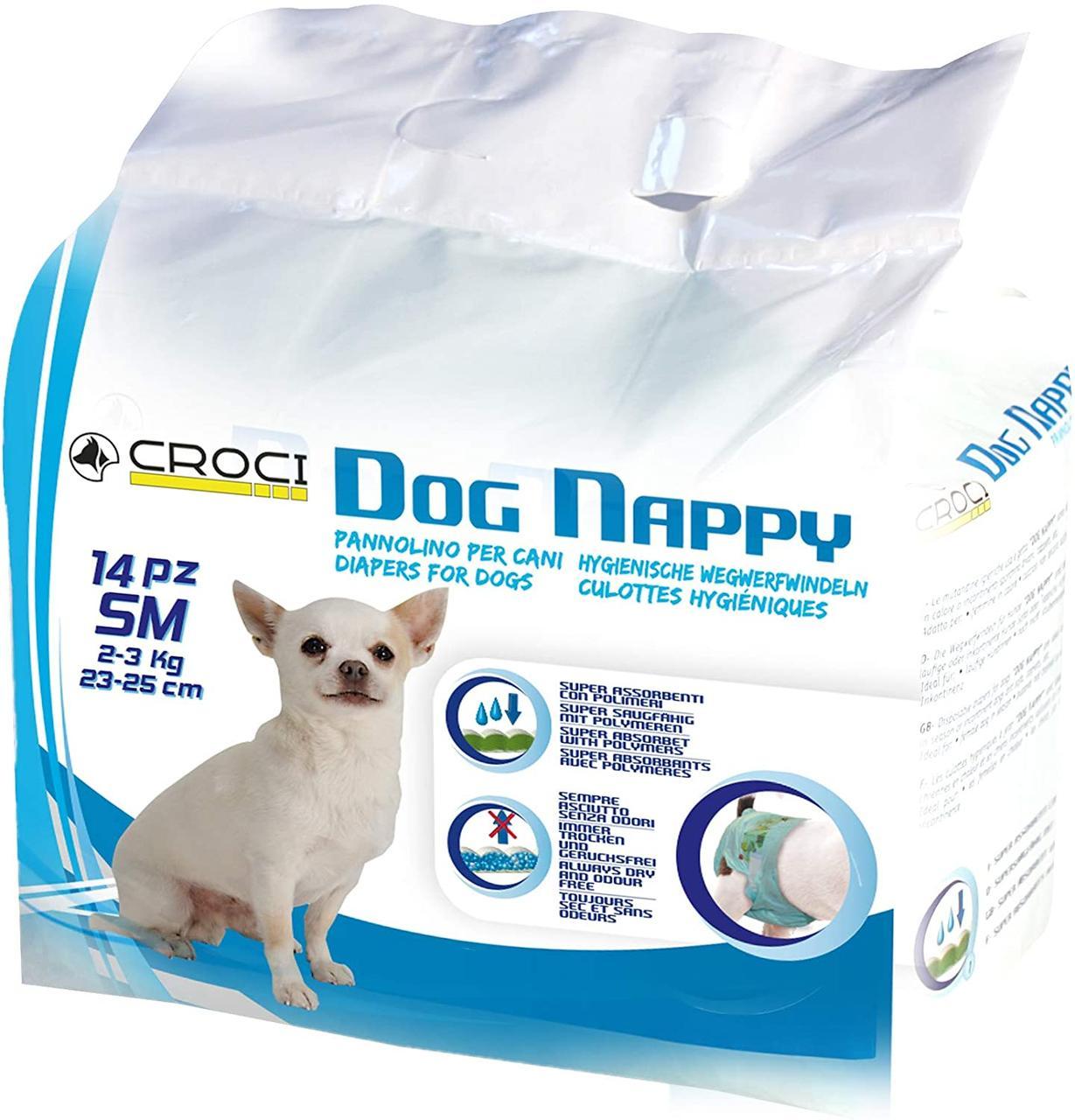 Подгузники для собак 23-25 см Croci Dog nappy S (14 шт/уп)