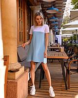 Короткое свободное летнее платье (40-46) с коротким рукавом