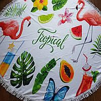 Пляжный коврик  (полотенце) фибра 150 в диаметре (в ассортименте)