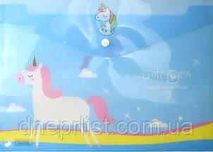 """Папка-конверт А4, на кнопке """"Единорог"""", фото 3"""