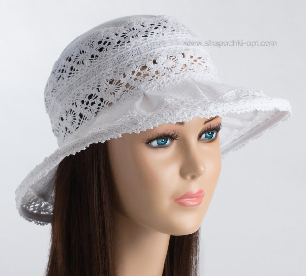 Белая летняя женская шляпа из льна с кружевом размер 56-58