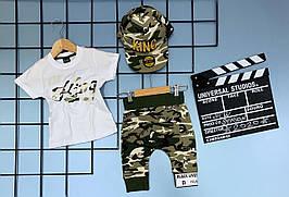 Летний комплект 3-ка для мальчика  , KING  Hip-Hop 1-2/2-3/3-4/4-5/5-6 лет (белая футболка, шорты камуфляж )