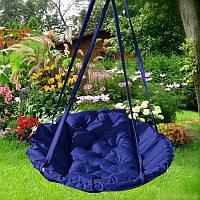 Подвесное кресло гамак для дома и сада 96х120 см темно синего цвета
