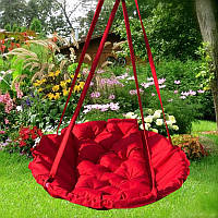 Подвесное кресло гамак для дома и сада 96х120 см красного цвета