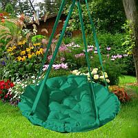 Подвесное кресло гамак для дома и сада 96х120 см зеленого цвета